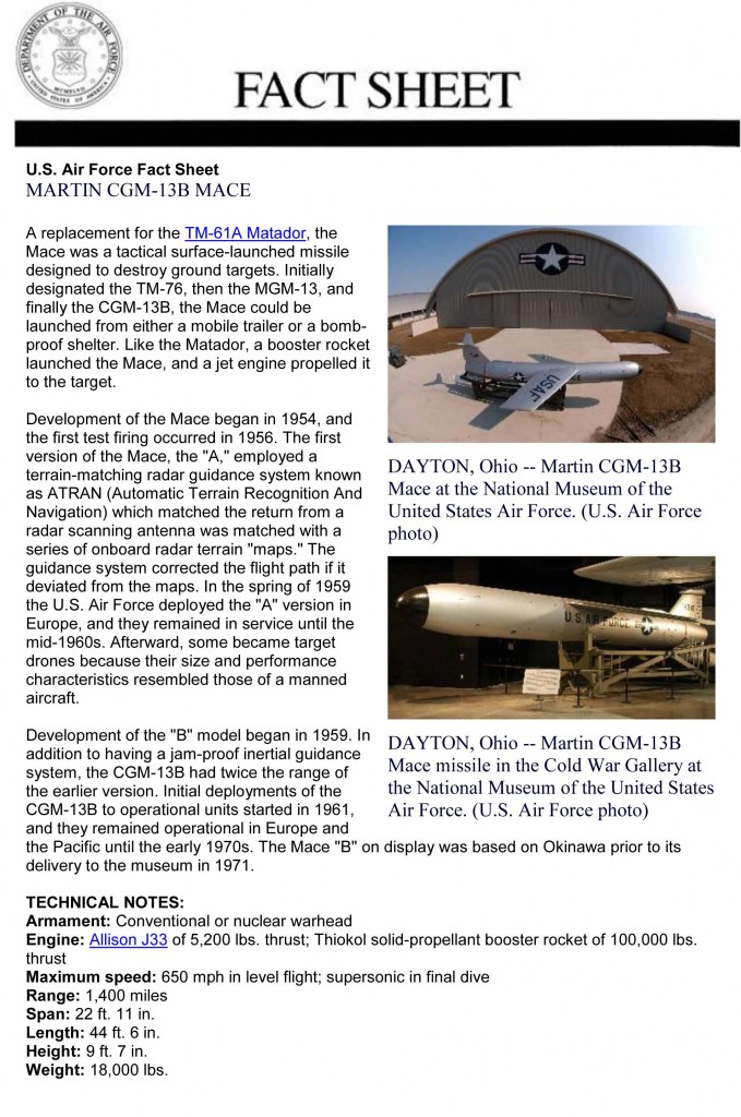 Martin CGM-13B Fact Sheet (Courtesy of the US Museum of the Air Force)