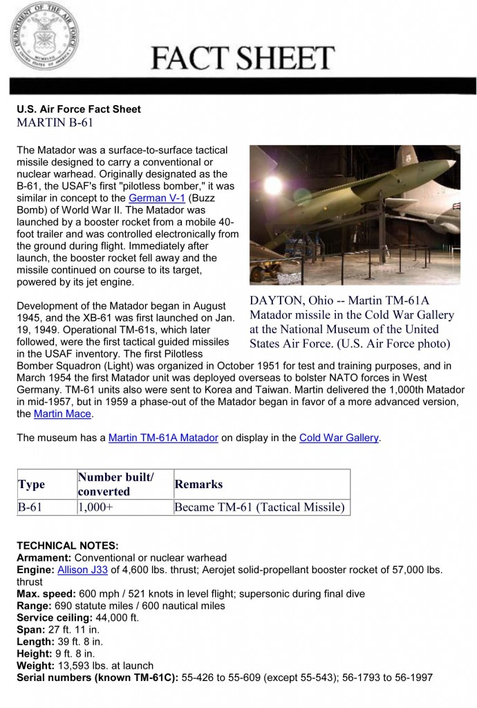 Martin B-61 Fact Sheet (Courtesy of the US Museum of the Air Force)