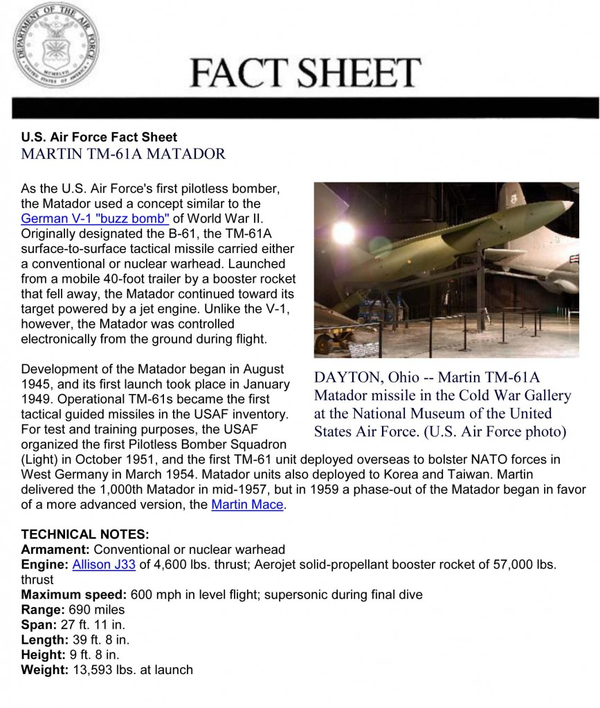 Martin TM-61A Fact Sheet (Courtesy of the US Museum of the Air Force)