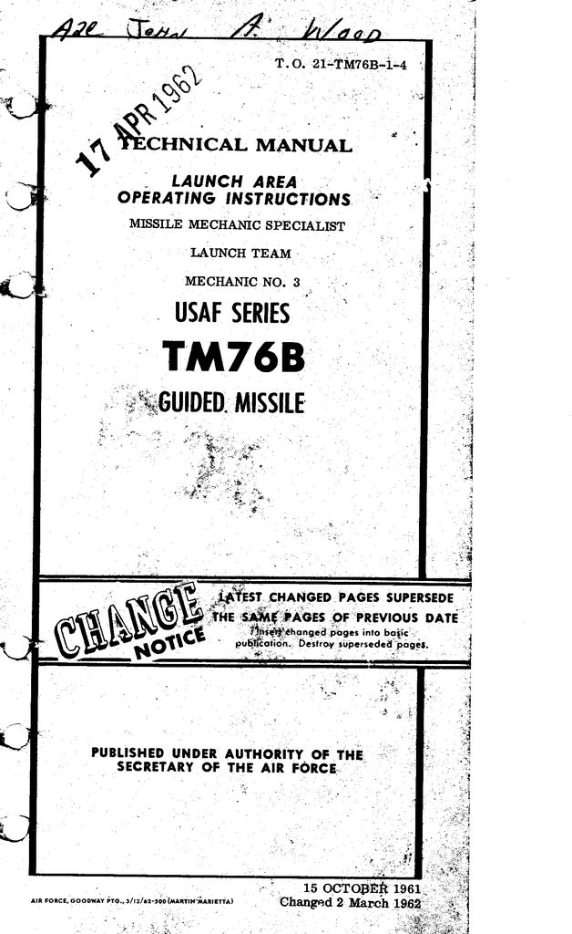 TM-76B Launch Area Operating Inst. Tech Manual (Mech. No. 3)